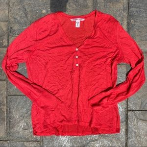 Victoria's Secret Red Long Sleeve Pajama Top